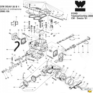 Weber 32/36 DGAV 20B1 Double Pump Exploded View