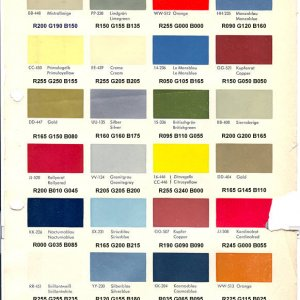 Opel Color Chart with RGB